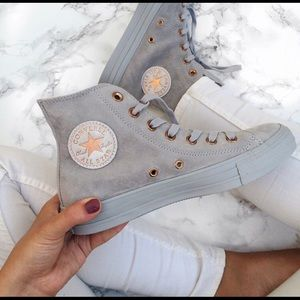 Converse Shoes   Grey Suede And Rose